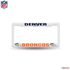 Rico NFL White Plastic License Plate Frame Denver Broncos New