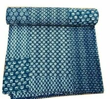 Indian Handmade Quilt Vintage Kantha Bedspread Cotton Blanket Queen Cotton