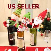 Christmas Santa Snowman Elf Wine Bottle Cover Table Party Decor Xmas Ornaments