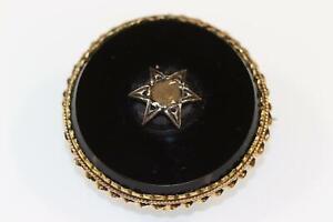 Biedermeier Brosche 14K/585er Gold Altschliff Diamant 0,33 CT 1.H.19.J. (CP695)