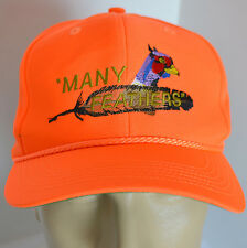 Many Feathers Pheasant Mike Hat Hunter Orange Snapback Baseball Ball Cap Lid Adj