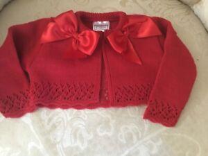 Christmas Baby Girls bow Cardigan bolero various sizes Romany Pex