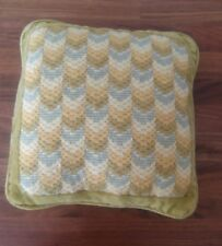 Vtg Velvet Chartreuse Throw Pillow with Florentine Cross Stitching 12 x 12 in.