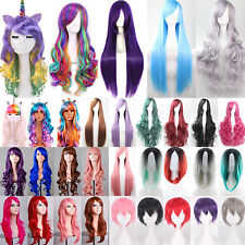 Womens Halloween Party Short Long Rainbow Full Hair Unicorn Gothic Race Wigs