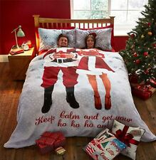 CHRISTMAS MR & MRS SANTA CLAUS SNOWFLAKES RED WHITE GREY KING SIZE DUVET COVER