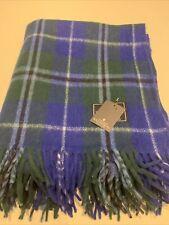 House of Balmoral Scottish Large Wool Rug Blanket Blue Douglas Tartan Check