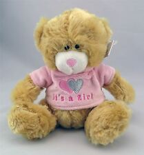 "Baby Plush Teddy Bear It's A  Girl Soft Toy - 6.5"" Pink"