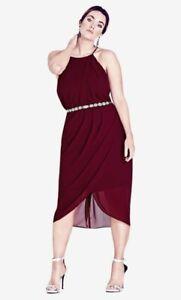 NEW City Chic Red Garnet Wrap Love Dress Size L