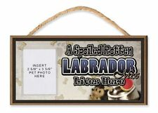 A Spoiled Rotten Labrador Mix Lives Here Dog Sign w/ Photo Pocket