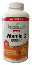 Natures Aid Vitamin C 1000mg Low Acid (Rosehips & Citrus Bioflavonoids) 240 Tabs