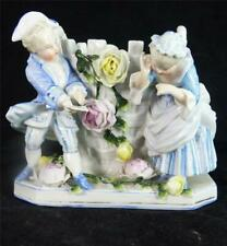 ANTIQUE SITZENDORF PORCELAIN BASKET VASE WITH TWO FIGURES OF CHILDREN