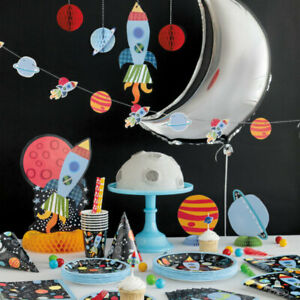 Outer Space Birthday Party Tableware Decorations Astronaut Boys Planets Rocket