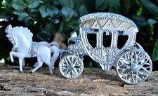 12 Pc. WHITE HORSES with SIVER CARRIAGE
