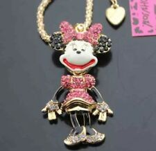 Betsey Johnson Necklace MINNIE MOUSE PINK  Gold Crystals Gift Box Organza Bag
