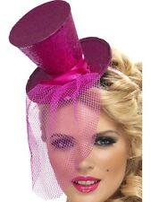 Ladies Mini Top Hat Glitter hat on Alice Band Pink by Smiffys