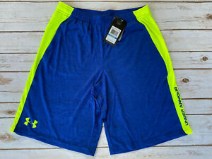 UNDER ARMOUR TECH SHORTS BLUE NEON YELLOW BIG BOYS XL YOUTH NEW $24.99