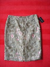 NWT $698 RALPH LAUREN BLACK LABEL Olive Jacquard Silk Floral Pencil Skirt Sz 10