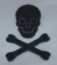 Embroidered Black Glitter Skull Crossbones Pirate Applique Jacket Patch Iron On