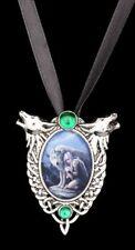 COLLAR CON LOBO - Protector - Anne Stokes Medallón Collar Accesorio