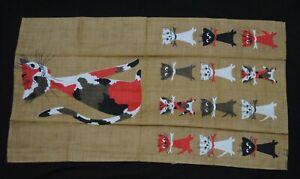 Vintage MCM Tammis Keefe Linen Calico Cat & Kittens Hand Tea Towel Unused