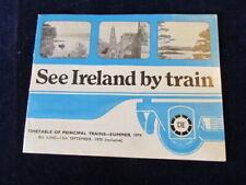 Vtg 1970 CIE See Ireland By Train Railroad Timetable Brochure Dublin Cork ++Q735