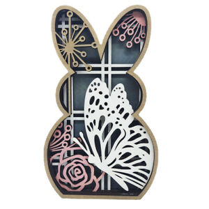 Colorful Wood Carving Rabbit Hollow-out Easter Rabbit Ornament Decoration Gift