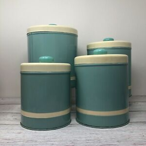 Vintage Turquoise Blue Canister Set of 4