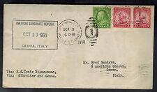 1930 USA Consul cover Catapult Cover Genoa Italy Ship SS Conte Biancanamo