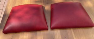 2 Ethan Allen Red Leather Dining Room Chairs Seat Pads Cushions