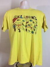 Vtg 90s Oklahoma The Sooner State Map T-Shirt Yellow L Souvenir Tourism 50/50