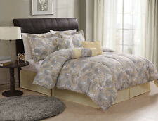 Bedford Paisley Floral Black/Yellow King Comforter Set