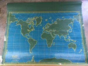 Vintage 1940's Pull Down CHALKBOARD Wall MAP U.S. on one side, world on reverse