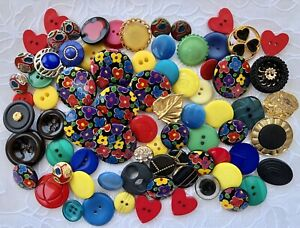 Vintage Buttons Lot 75 Colorful  Sewing or Crafts