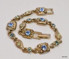 Bracelet Blue Rhinestones Vintage Costume Jewelry