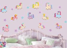 Los PONIS Y Estrellas-Paquete De 20-El Arte De Pared Adhesivos De Vinilo De Caballos Pony Mural calcomanías