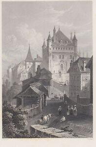 Lausanne Original Steel Engraving Jorden 1840
