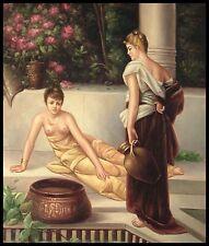 """* 24""""x20"""" peinture à l'huile sur toile, deux femmes dans le jardin"""