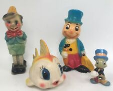 Disney Pinocchio Wdp Sun Rubber Squeek Toys Ceramic Coin Bank Figurines (4)
