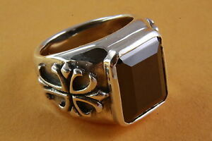 Men's Ring Onyx Lilies Ring 925 Silver Ring 083