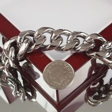 Pesante bracciale in acciaio inossidabile Heavyweight UOMO CATENA MASSICCIA Cubano Biker cordolo O2