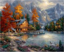 Log Cabin Landscape 16X20Inch Paint By Number Kit DIY Acrylic Painting on Canvas
