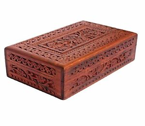 Handmade Wooden Jewelry Box Hand Carved with Carvings Gift Items - 10 Inch Box