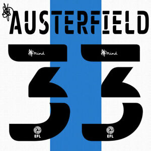 2020 2021 OFFICIAL HUDDERSFIELD TOWN HOME NAME SET AUSTERFIELD 33 = PLAYER SIZE