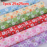 7PCS Fat Square Floral Cotton Fabric Patchwork Cloth For DIY Craft Sewing Kit