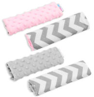 BABY BELT COVER CAR SEAT PRAM HARNESSS PAD SHOULDER STRAP SOFT DIMPLE FABRIC 2pc
