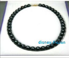 """18"""" AAA 9-10mm Real natural Tahitian Black pearl necklace 14k GOLD CLASP"""