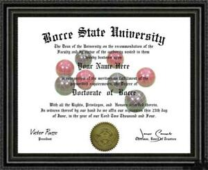 Bocce Lover's Doctorate Diploma / Degree Custom Made & Designed for You UNIQUE