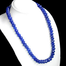 BEAUTIFUL EXCELLENT 483.00 CTS NATURAL FACETED BLUE SAPPHIRE BEADS NECKLACE