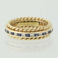 Tiffany & Co. Diamond & Sapphire Band - 18k Gold Wedding Women's Ring 1.17ctw