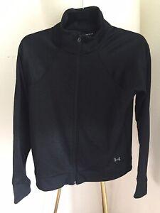 Under Armour Jacket ColdGear Fleece Full Zip Mock Collar Black Tonal Sheen - S